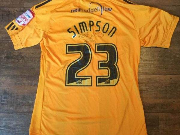 2010 2011 Hull City Simpson Match Worn Marie Curie Home Football Shirt
